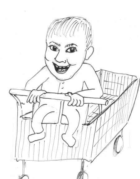 creepy baby grocery cart